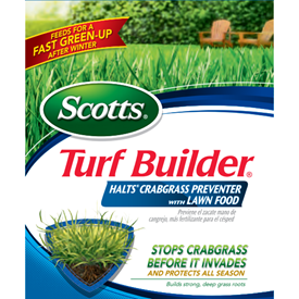 Scotts Turf Builder Halts Crabgrass Preventer with Lawn Food Logo
